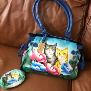 Anuschka Hand Painted Cat Bag NWOT